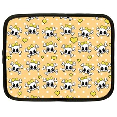 Cute Skull Netbook Case (xxl)  by Valentinaart