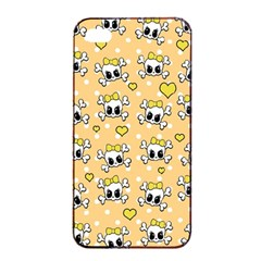 Cute Skull Apple Iphone 4/4s Seamless Case (black) by Valentinaart
