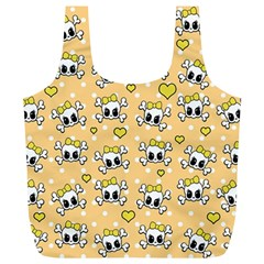 Cute Skull Full Print Recycle Bags (l)  by Valentinaart