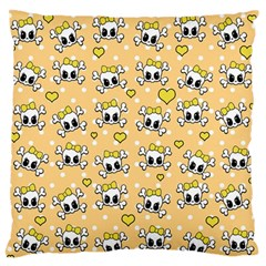 Cute Skull Large Flano Cushion Case (two Sides) by Valentinaart