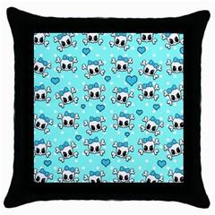 Cute Skull Throw Pillow Case (black) by Valentinaart