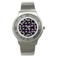 Cute Skull Stainless Steel Watch by Valentinaart