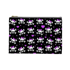 Cute Skull Cosmetic Bag (large)  by Valentinaart