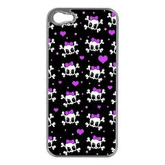 Cute Skull Apple Iphone 5 Case (silver) by Valentinaart