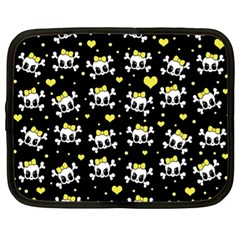 Cute Skull Netbook Case (xl)  by Valentinaart
