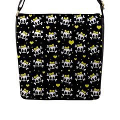 Cute Skull Flap Messenger Bag (l)  by Valentinaart