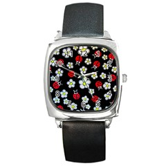 Sixties Flashback Square Metal Watch by dawnsiegler