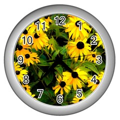 Walking Through Sunshine Wall Clocks (silver)  by dawnsiegler