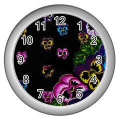 Floral Rhapsody Pt 1 Wall Clocks (silver)  by dawnsiegler