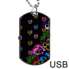 Floral Rhapsody Pt 1 Dog Tag Usb Flash (one Side) by dawnsiegler