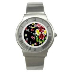 Floral Rhapsody Pt 2 Stainless Steel Watch by dawnsiegler