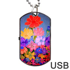 Spring Pastels Dog Tag Usb Flash (two Sides) by dawnsiegler
