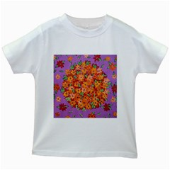 Floral Sphere Kids White T Shirts by dawnsiegler