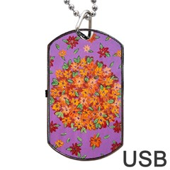 Floral Sphere Dog Tag Usb Flash (one Side) by dawnsiegler