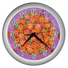 Floral Sphere Wall Clocks (silver)  by dawnsiegler