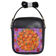 Floral Sphere Girls Sling Bags by dawnsiegler