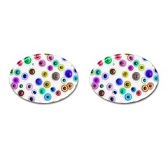 Colorful Concentric Circles              Cufflinks (oval) by LalyLauraFLM