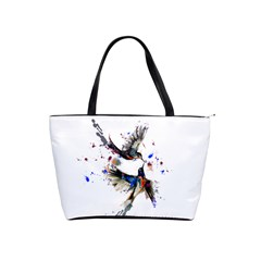 Colorful Love Birds Illustration With Splashes Of Paint Shoulder Handbags by TastefulDesigns