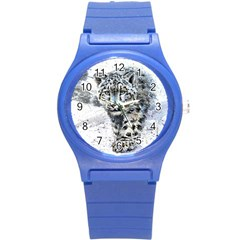 Snow Leopard 1 Round Plastic Sport Watch (s) by kostart