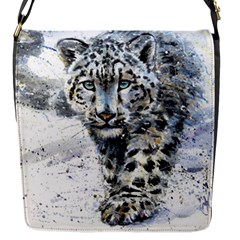 Snow Leopard 1 Flap Messenger Bag (s) by kostart
