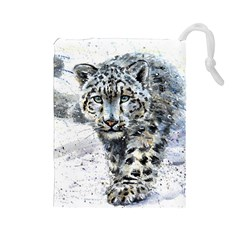 Snow Leopard 1 Drawstring Pouches (large)  by kostart