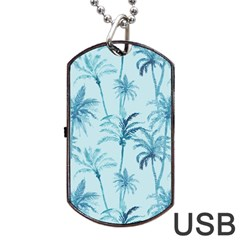 Watercolor Palms Pattern  Dog Tag Usb Flash (one Side) by TastefulDesigns