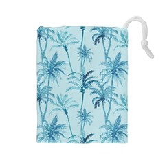 Watercolor Palms Pattern  Drawstring Pouches (large)  by TastefulDesigns