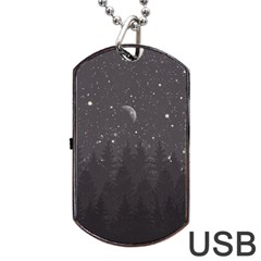 Night Full Star Dog Tag Usb Flash (two Sides) by berwies