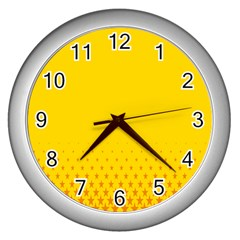 Yellow Star Light Space Wall Clocks (silver)  by Mariart