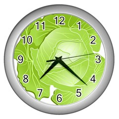 Cabbage Leaf Vegetable Green Wall Clocks (silver)  by Mariart