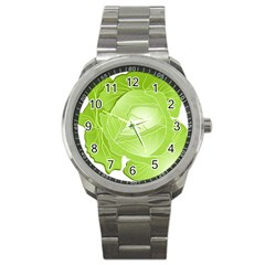 Cabbage Leaf Vegetable Green Sport Metal Watch by Mariart