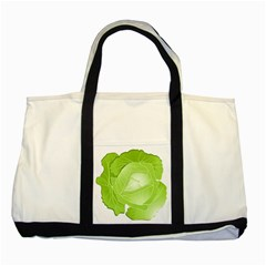 Cabbage Leaf Vegetable Green Two Tone Tote Bag by Mariart