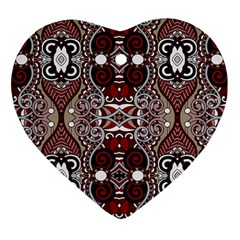 Batik Fabric Heart Ornament (two Sides) by Mariart