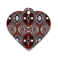 Batik Fabric Dog Tag Heart (one Side) by Mariart