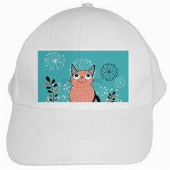 Cat Face Mask Smile Cute Leaf Flower Floral White Cap by Mariart
