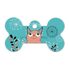 Cat Face Mask Smile Cute Leaf Flower Floral Dog Tag Bone (two Sides) by Mariart