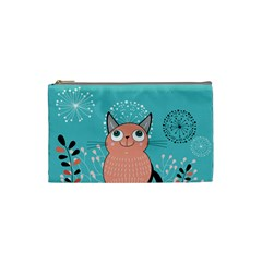 Cat Face Mask Smile Cute Leaf Flower Floral Cosmetic Bag (small)  by Mariart