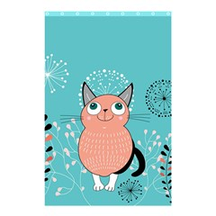Cat Face Mask Smile Cute Leaf Flower Floral Shower Curtain 48  X 72  (small)  by Mariart