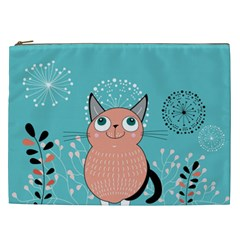 Cat Face Mask Smile Cute Leaf Flower Floral Cosmetic Bag (xxl)  by Mariart