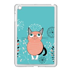 Cat Face Mask Smile Cute Leaf Flower Floral Apple Ipad Mini Case (white) by Mariart