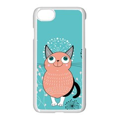 Cat Face Mask Smile Cute Leaf Flower Floral Apple Iphone 7 Seamless Case (white) by Mariart