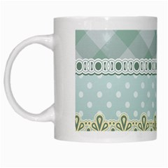 Circle Polka Plaid Triangle Gold Blue Flower Floral Star White Mugs by Mariart