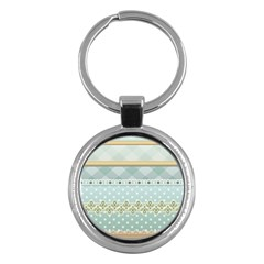 Circle Polka Plaid Triangle Gold Blue Flower Floral Star Key Chains (round)  by Mariart