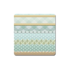 Circle Polka Plaid Triangle Gold Blue Flower Floral Star Square Magnet by Mariart