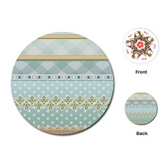 Circle Polka Plaid Triangle Gold Blue Flower Floral Star Playing Cards (round)  by Mariart