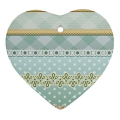 Circle Polka Plaid Triangle Gold Blue Flower Floral Star Heart Ornament (two Sides) by Mariart