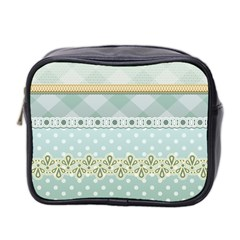 Circle Polka Plaid Triangle Gold Blue Flower Floral Star Mini Toiletries Bag 2 Side by Mariart