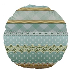 Circle Polka Plaid Triangle Gold Blue Flower Floral Star Large 18  Premium Flano Round Cushions by Mariart