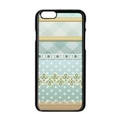 Circle Polka Plaid Triangle Gold Blue Flower Floral Star Apple Iphone 6/6s Black Enamel Case by Mariart