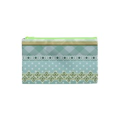 Circle Polka Plaid Triangle Gold Blue Flower Floral Star Cosmetic Bag (xs) by Mariart